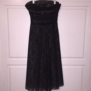 BCBG Max Azaria black tulle & nude lace dress